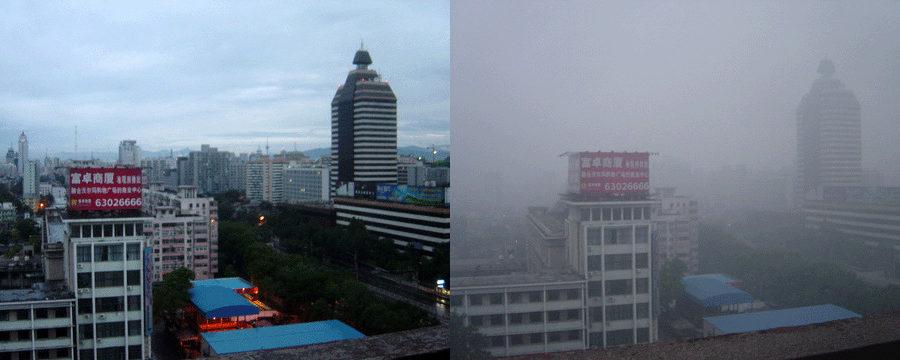 Fotos tiradas em 2005 de Pequim um dia após a chuva (à esquerda) e um dia com névoa e poluição (smog). Fonte: Wikipedia