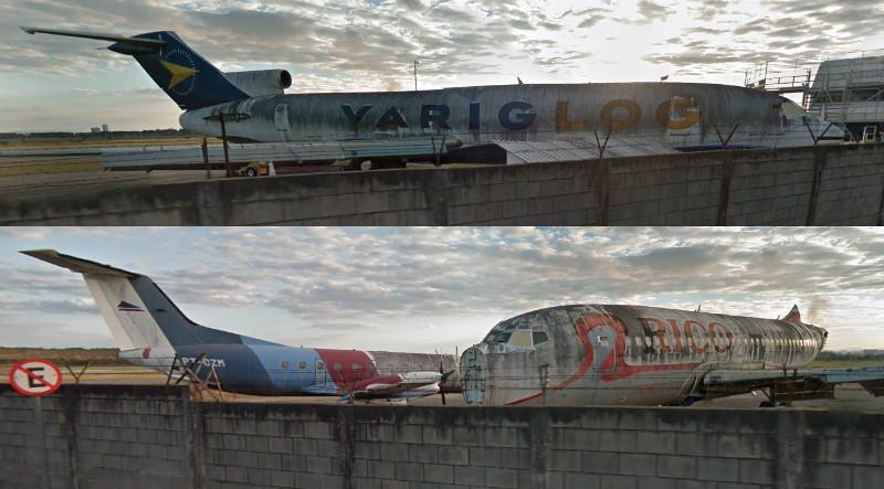Boeings 737 e Embraer 120 abandonados em São José dos Campos. Fotos: Google Street View