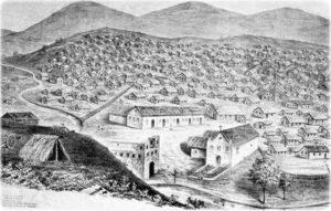 Litografia com as duas igrejas do Arraial: Santo Antônio (direita) e a nova, com duas torres e inacabada. D. Urpia (1897)