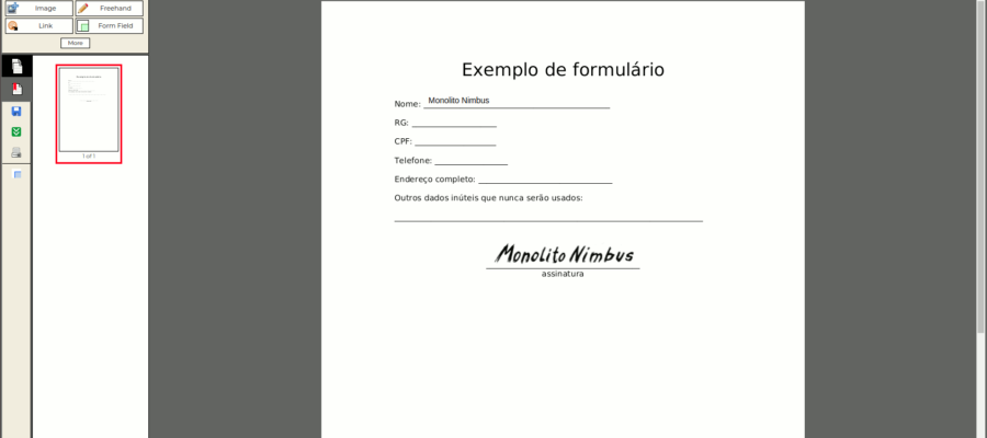 Tela de edição online de arquivo PDF com formulário, inserindo texto e com assinatura recém incluída