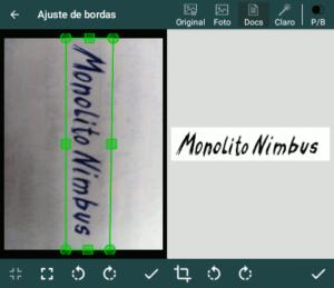 Telas com exemplo de documento sendo fotografado, selecionado e tratado no aplicativo