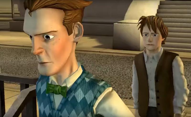 Jovem Emmett e Marty em frente ao tribunal
