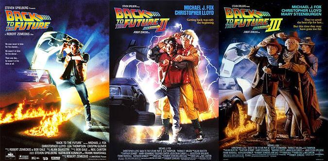 Cartazes dos filmes De Volta Para O Futuro I, II e III
