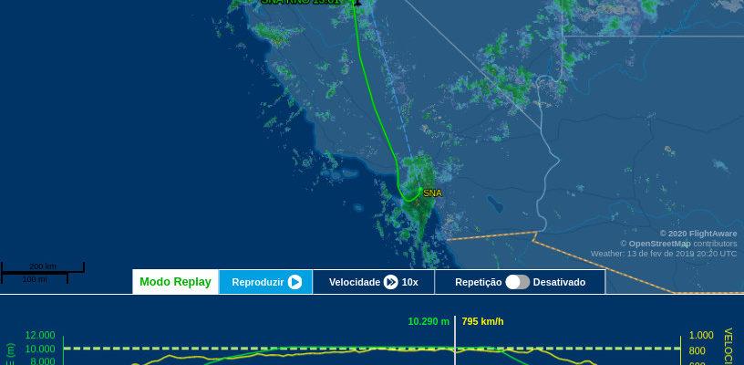 Rota do voo CP5763 até o momento em que começou a turbulência mais forte. Fonte: Flight Aware