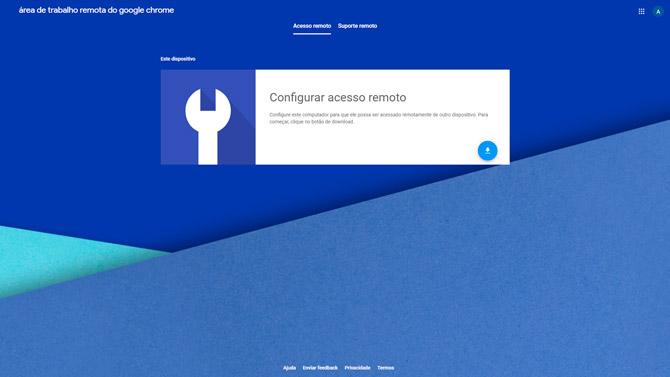 Tela de acesso remoto do Remote Desktop do Google Chrome