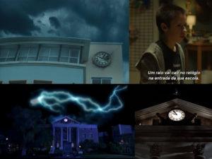 """Relógios dos filmes """"Durante a Tormenta"""" e """"De Volta Para o Futuro"""""""