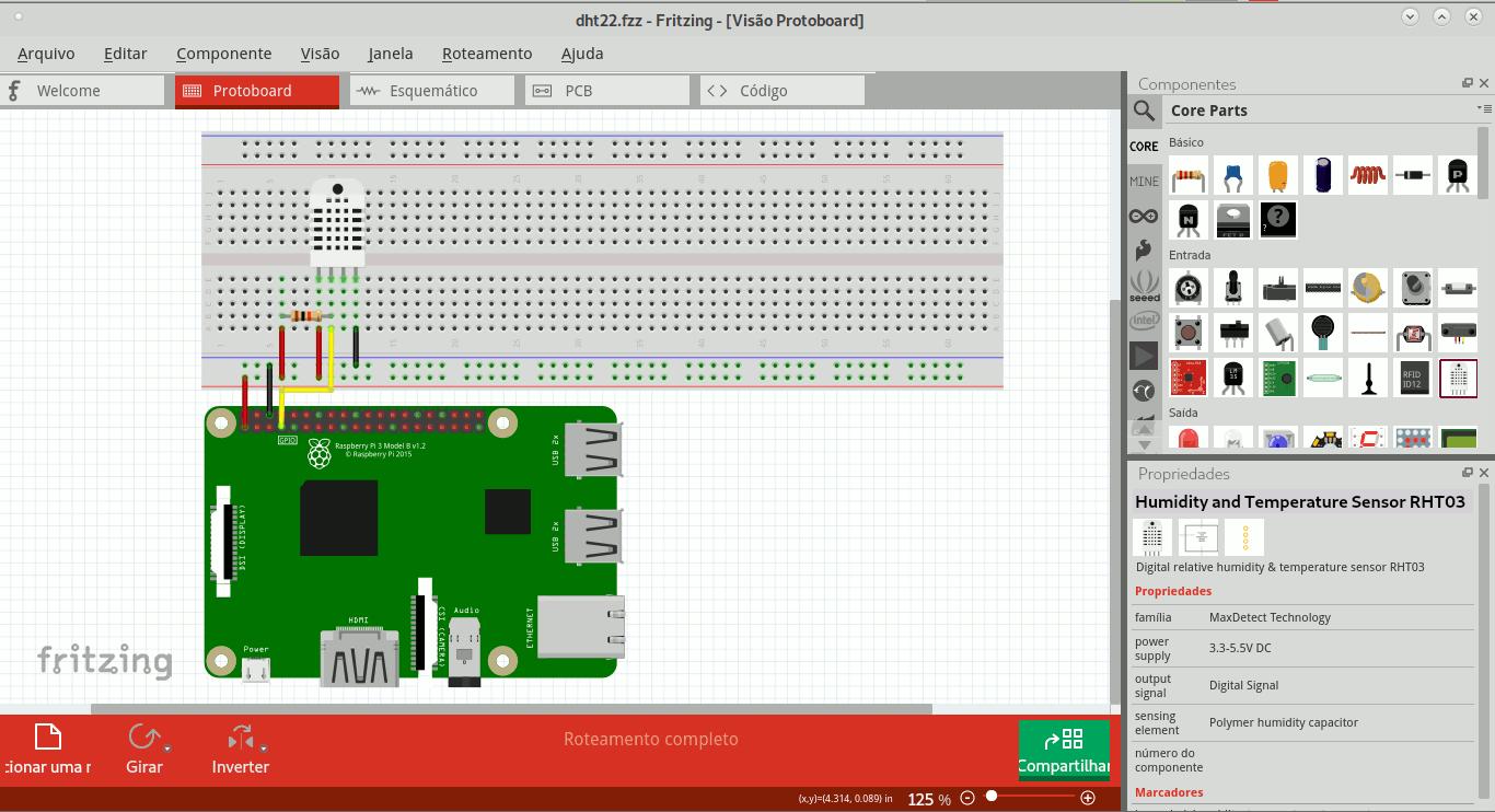 Tela do Fritzing com simulação de circuito contendo Raspberry Pi e DHT22