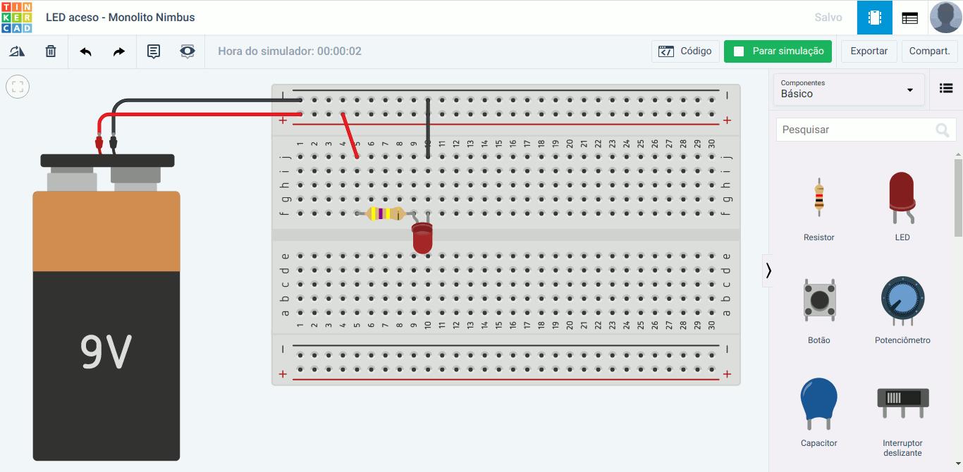 Tela do Tinkercad com simulação de circuito do Manual do Mundo