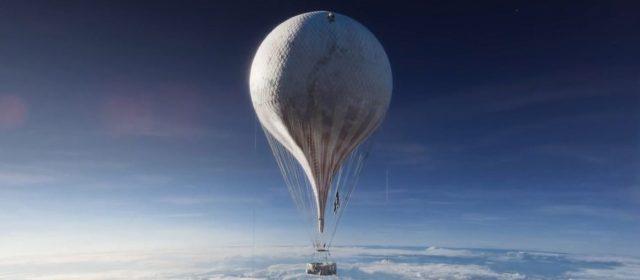 """Cena do filme """"Os Aeronautas"""" com o envelope do balão congelado"""