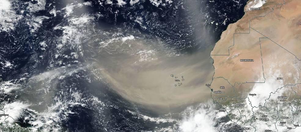 Imagem visível da grande pluma marrom clara de poeira saariana sobre o Oceano Atlântico (18/06/2020, satélite Suomi NPP da NASA-NOAA). Fonte: NASA Worldview
