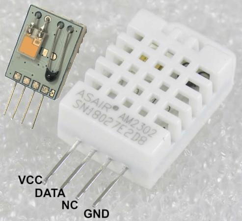 Sensor de temperatura e umidade DHT22, com detalhe mostrando os componentes de umidade (esquerda) e temperatura (direita). Fonte: Divulgação