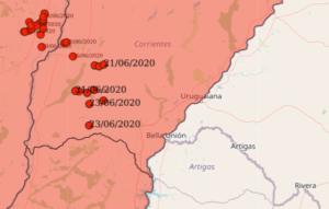Localizações relatadas da nuvem de gafanhotos de maio/junho de 2020. Fonte: Senasa