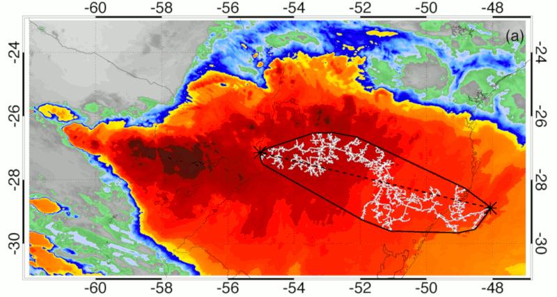 Imagem de satélite com extensão recorde do relâmpago, Brasil, 31 de outubro de 2018