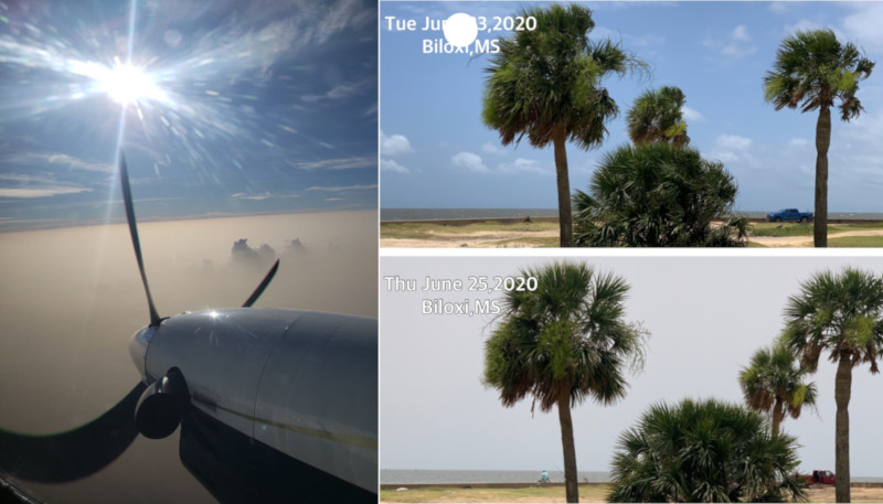 Imagens de Cancun (México) a 17 mil pés de altitude e de Biloxi (EUA). Fonte: Twitter (@Pepiny2k e @Weatheric)