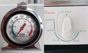 Termômetro de forno e botão seletor de temperatura do forno. Fotos: ViniRoger