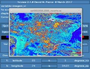 Imagem do satélite GOES13 (visível) recortada usando CDO