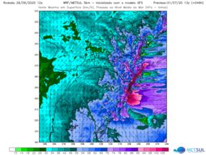 Previsão de vento máximo para às 10h da manhã do dia 1 de julho de 2020. Fonte: MetSul