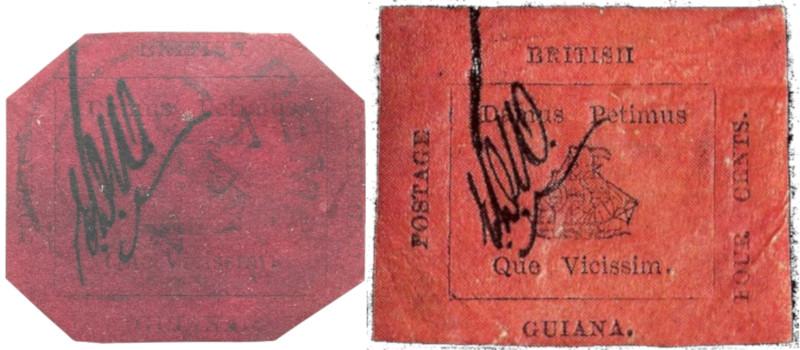 Selos de 1 e 4 centavos da Guiana. Fonte: Wikipedia