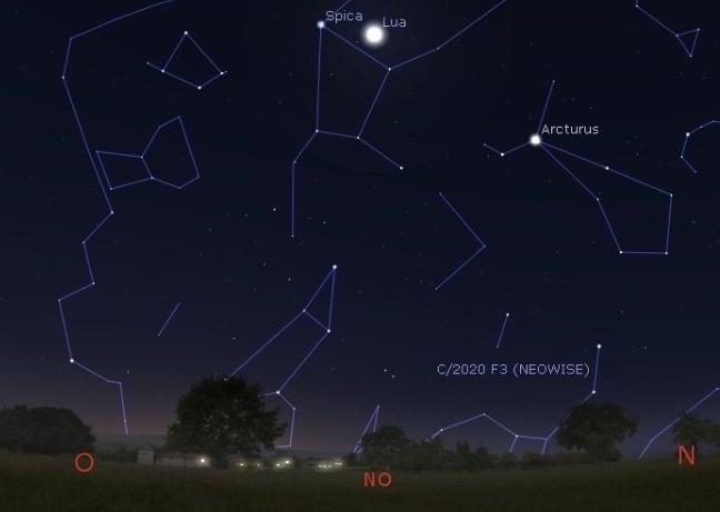 Imagem do software Stellarium indicando a região do céu onde será visível o cometa Neowise
