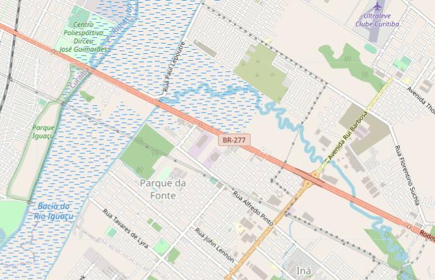 Região do acidente de 3 de agosto de 2020. Fonte: OpenStreetMap