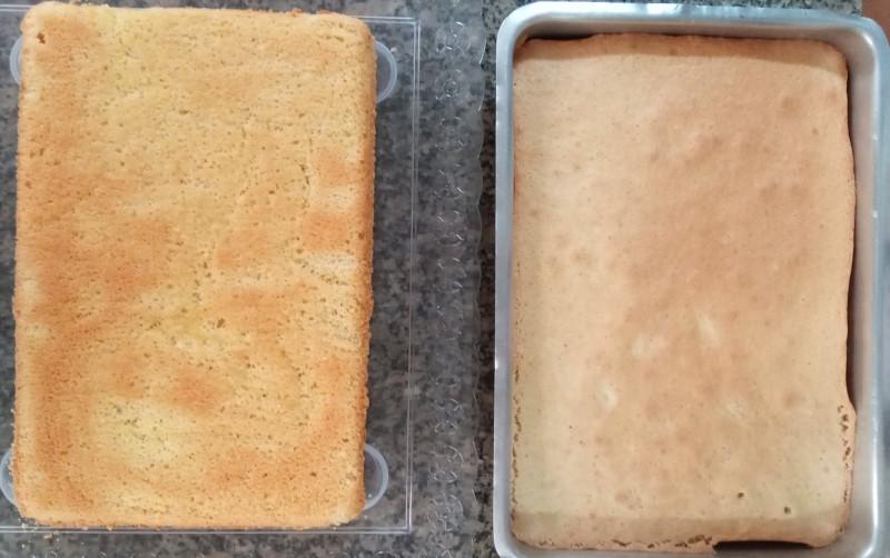 Duas camadas de pão de ló feitas com a receita do post. Foto: ViniRoger
