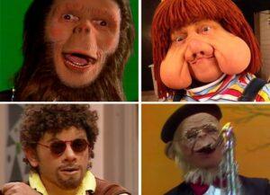Charles, Fofão, Patropi e macaco Sócrates, todos personagens de Orival Pessini. Fotos: TV Globo