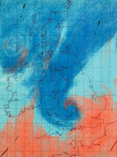 Gráfico produzido por FitzRoy representando as massas de ar e suas diferenças de temperatura. Fonte: Met Office