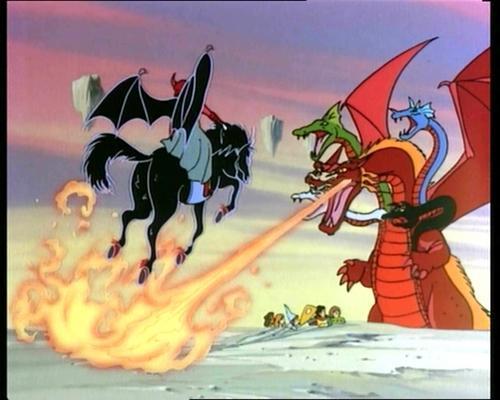 """Vingador vs Tiamat: Vingador tem asas e não voa, mas seu cavalo """"pesadelo"""" não tem asas e voa"""