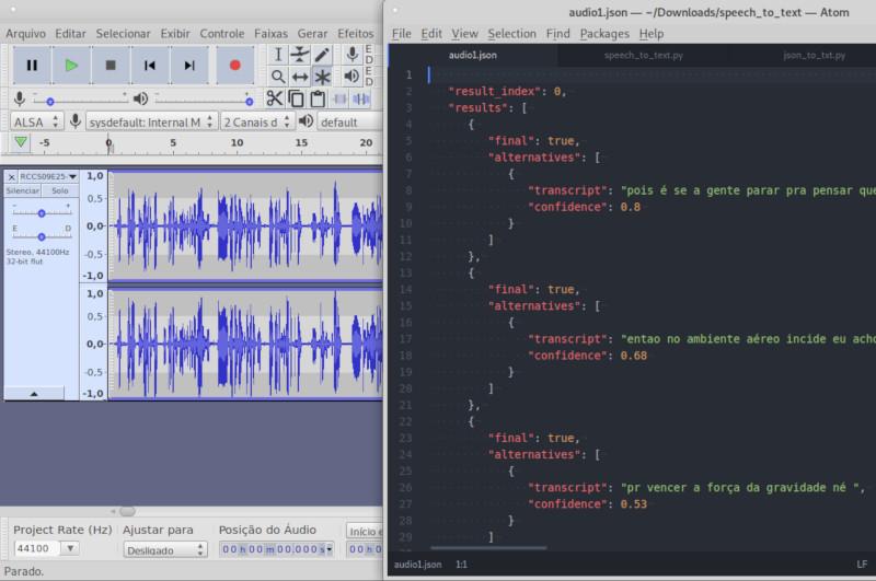 Arquivo de áudio aberto no Audacity e arquivo JSON gerado com API de transcrição