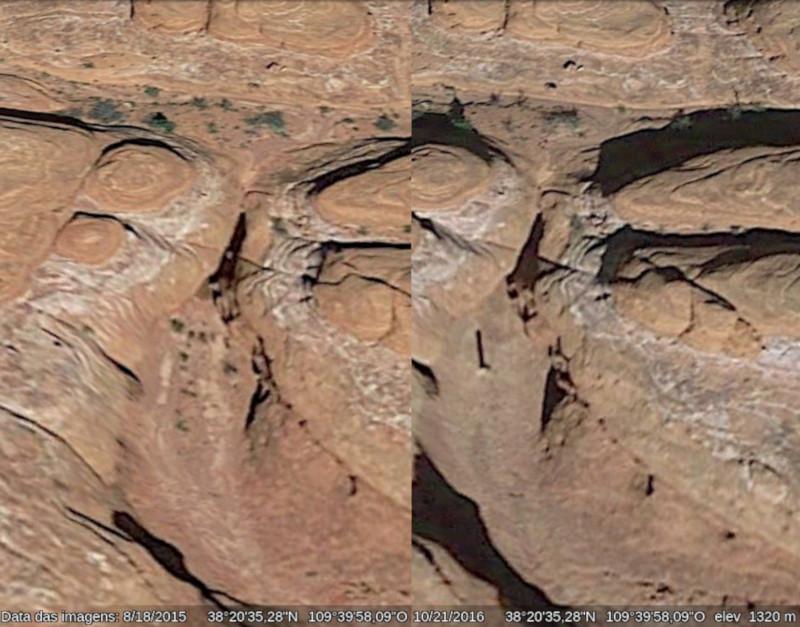 Possível local de monólito de Utah, em agosto de 2015 e outubro de 2016. Fonte: Google Earth