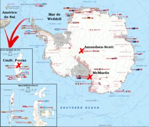 Mapa da Antártida, com destaque para o Mar de Weddel, base Comandante Ferraz na Ilha Rei George, base McMurdo e base Amundsen-Scott, no pólo sul geográfico. Adaptado de Wikipedia
