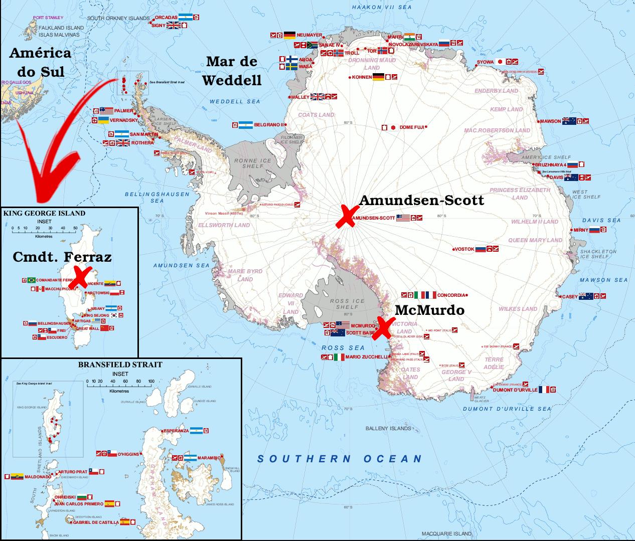 Mapa da Antártida, com destaque para o Mar de Weddel, base Comandante Ferraz na Ilha Rei George, base McMurdo e base Amundsen-Scott, no polo sul geográfico. Adaptado de Wikipedia
