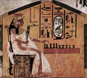 Rainha Nefertari jogando Senet, Câmara funerária de Nefertari (esposa de Ramsés II), 1298-1235 a.C., Tebas/Egito. Fonte: Wkipedia