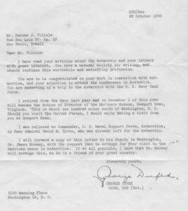 Carta convite enviada a Villela pelo Almirante George Dufek em 1960