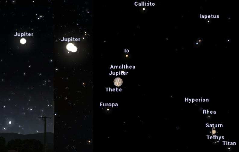 Três imagens com diferentes campos de visão (FOV 34.3°, 4.93° e 0.194°) por volta de 18:10 (hora local de Maceió). Fonte: Stellarium