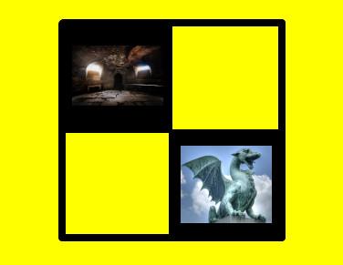 """Arte """"Dungeons and Dragons para principiantes"""". Créditos: Trey Ratcliff (masmorra), wili_hybrid (dragão) e Godinez (tabuleiro de xadrez para principiantes)."""