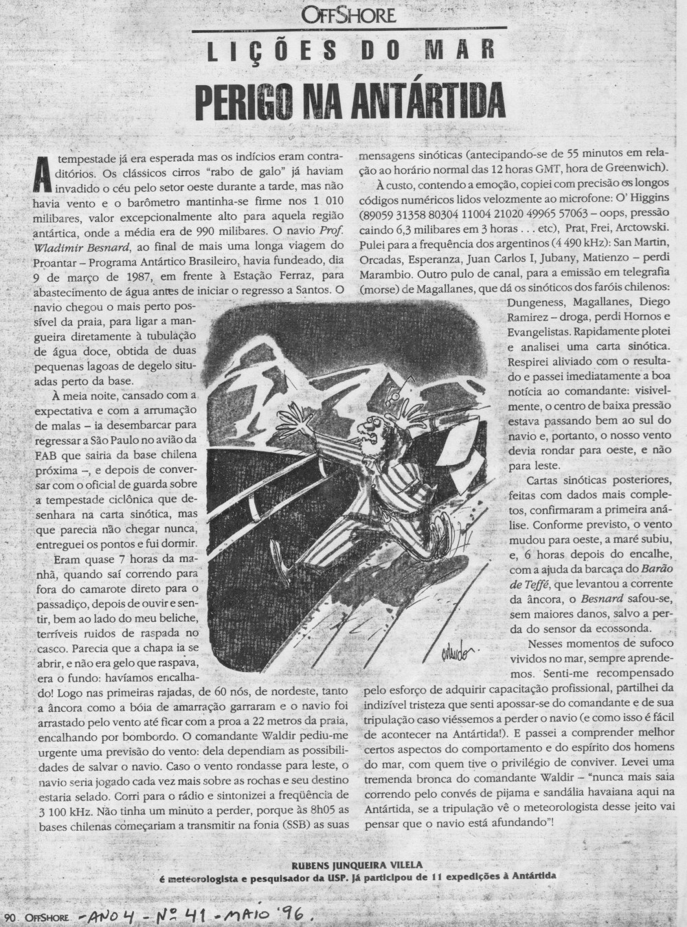 """Artigo """"Perigo na Antártida"""" na revista """"Offshore"""" (clique na imagem para ampliar)"""