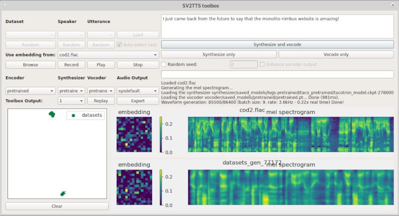 Toolbox do SV2TTS para clonagem de voz usando amostras de 5 segundos (espectrograma abaixo é do áudio gerado)