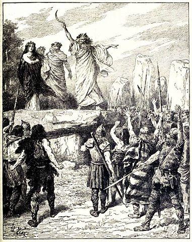 Druidas Incitando os bretões a se oporem ao desembarque dos romanos - da História da Inglaterra de Cassell, vol. I. Fonte: Wikipedia