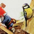 """Gnomo construindo casa para pássaro - ilustração do livro """"Gnomos"""""""
