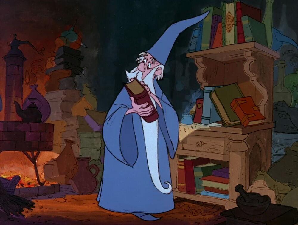 Representação do mago Merlin no desenho A Espada era a Lei (1963). Fonte Disney Fandom
