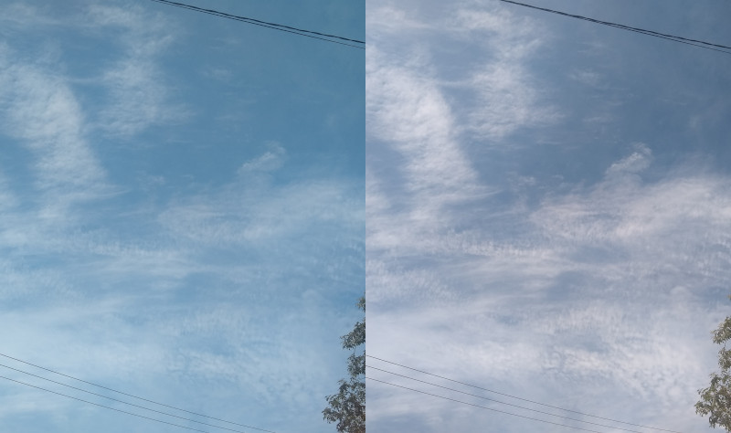 Fotos com filtro polarizador em diferentes angulações (a da esquerda é próxima ao caso sem usar o filtro) – Motorola g7 f/1,8 (1,69EV) ISO100 4,0mm 1/787s e 1/472s. Fotos: ViniRoger