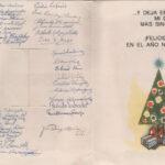 Cartão de natal com a assinatura dos 35 alunos, níveis universitário e técnico