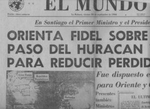 Primeira página de jornal cubano anunciando chegada de furacão Inez (set 1966)