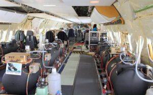 Tanques de lastro com água utilizados em voos-teste. Foto: Reprodução