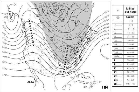 Carta sinótica das isolinhas de altura da superfície de 500 hPa. Fonte: Apostila da Prof. Alice Grimm