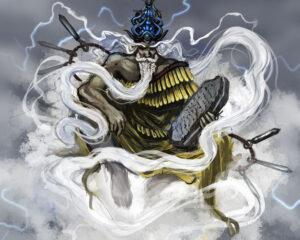 Enlil (da mitologia mesopotâmica) era o deus do tempo, que podia ter visões do mundo e dos humanos com as correntes de vento. Fonte: Aeromancy - SuperpowerWiki/Fandom