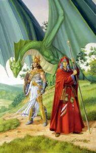 Caramon e Raistlin Majere, por Larry Elmore. Fonte: Wikipedia