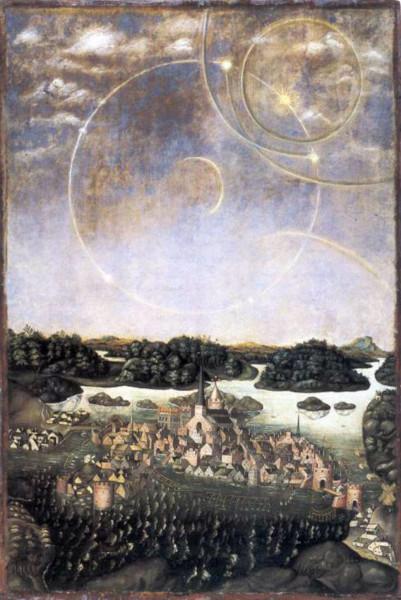 Vädersolstavlan (Pintura dos Cães do Sol), pintura de Urban Larsson (1535, original mas que não existe mais) e Jacob Heinrich Elbfas (1536, cópia atual). Fonte: Wikipedia