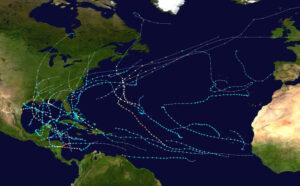 Figura 1: mapa mostrando as trilhas de todos os ciclones tropicais na temporada de furacões no Atlântico de 2020. Os pontos mostram a localização de cada tempestade em intervalos de 6 horas; a cor representa as velocidades máximas do vento sustentadas da tempestade, conforme classificado na Escala de Furacões de Saffir-Simpson; a forma dos pontos de dados representam o tipo da tempestade. (Wikipedia, 2021)